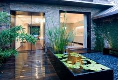 raised pond great for indoor and outdoor space.