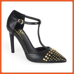 V 1969 Italia Womens MERCEDES T Strap Studded High Heel - Pumps for women (*Amazon Partner-Link)