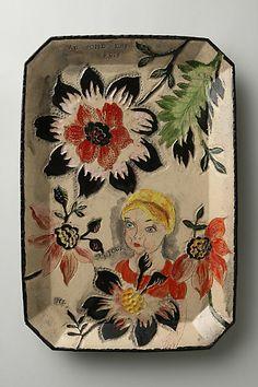Bonjour, 2008 - decorative plate by artist Nathalie Lete' for Anthropologie.