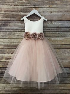 Ella Dress-two tone colored tulle dress with flower belt sash flower girls blush champagne white rosegold ivory flower girl dress Flower Girl Dresses belt blush champagne colored Dress Dresstwo Ella Flower Girl Girls Ivory rosegold sash tone Tulle White