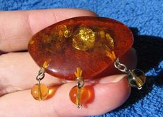 Natural Baltic amber 7.8 gr Cognac Brooch polished Vintage 琥珀 inside fish scales #HandMade