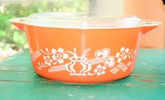 RARE Pyrex Casserole Dish Orange Dynasty by BowledMove on Etsy, $95.00