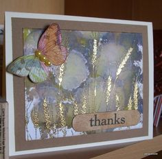 hand created thank you  card ... alcohol ink background ... gold embossed wheat ... great look! ... sweet butterfly ... awesome card ...