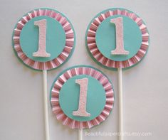 Letter or Number Rosette Cupcake Toppers by BeautifulPaperCrafts, $15.00