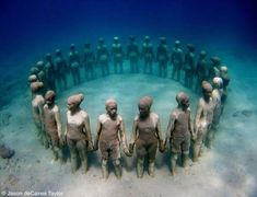 Artist Jason de Caires Taylor creates life-size cement sculptures of people and submerges them into the waters of South America. As time passes the sculptures become part of the underwater landscape and slowly become artificial reefs ripe with marine life.