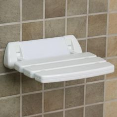Wall-Mount Folding Shower Seat with Rounded Bracket - White