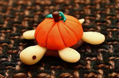 Halloween orange pumpkin fimo turtle Ornament by Onlymiracles, €8.00