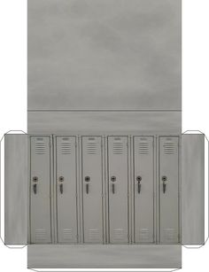Set of metal grey Lockers