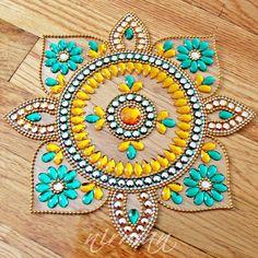 Sunflower Rangoli Rhinestone Wedding table decor Diwali by Nirman Diwali Craft, Diwali Rangoli, Wedding Art, Wedding Table, Diwali Decorations, Wedding Decorations, Acrylic Rangoli, Rangoli Colours, Indian Arts And Crafts