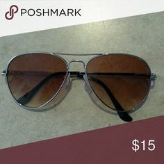 Aviator sunglasses Brown lens with silver frame Accessories Sunglasses