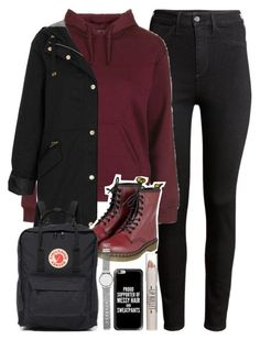 """""""Outfit for school or university in winter with Dr Martens"""" by ferned ❤ liked on Polyvore featuring H&M, Topshop, Dr. Martens, Fjällräven, Witchery and Casetify"""