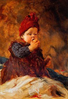 Child eating an apple, Georgios Jakobides (1853-1932, Greek painter)