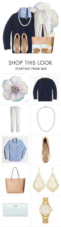 """""""Second shoutout of the day in D!!"""" by flroasburn ❤ liked on Polyvore featuring J.Crew, Blue Nile, Tory Burch, Kate Spade, Kendra Scott and Ray-Ban"""