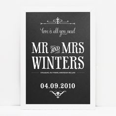 Personalised Wedding Print // © Paper Chain Creative Studio  www.facebook.com/paperchain