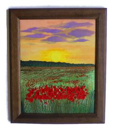 Poppies Framed Embroidery painting Home decor Fiber Art Wall Hanging textile pictures