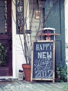winter porch chalkboard & vintage sled