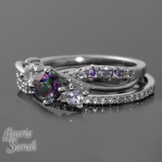 Mystic Topaz Engagement Ring with White by LaurieSarahDesigns, $1,163.25 Omg I love it, but not the price! Lol im cheap!