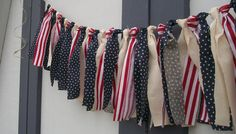 American flag garland, photo prop, 4th of July, party red white and blue vintage. $20.00, via Etsy.