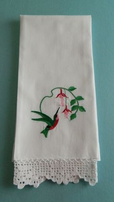 Embroidered Hummingbird Guest Towel