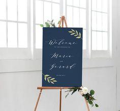 Custom Welcome Sign, Printable Navy Wedding Sign, Navy Minimalist wedding, Rustic wedding, Blue Outdoor Sign, Navy Wedding, Calligraphy