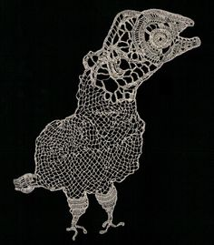 'L'oiseau préhistorique' (Prehistoric bird) (2011) by French artist pandatomic. Improvised crochet lace with silver thread, 20 x 22 cm. source: the artist on flickr; link broken