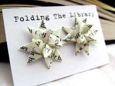 folded pages earrings