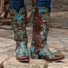 Double D Ranch. Turquoise Ammunition Boots