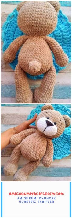 Making Amigurumi Teddy Bear with Velvet Rope - My Amigurumi Recipes - Amigurumi - Teddy Bear Clothes, Teddy Bear Toys, Crochet Rabbit, Crochet Teddy, Amigurumi For Beginners, Bear Felt, Crochet Amigurumi Free Patterns, Cat Doll, Toddler Gifts
