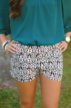 These patterned shorts are great! The black and white print makes them easy to wear with a solid shirt to add a pop of color! - LV