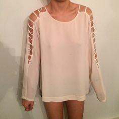 Long sleeve shirt Beige long sleeve shirt with slits on the sleeves Naked Zebra Tops