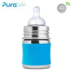 Pura Kiki Trinkflasche - 150ml - Weithalssauger (inkl. Schutzkappe) | die-besten-stoffwindeln.de Pura Kiki, Cocktail Shaker, Drink Bottles, Barware, Cocktails, Soil Conservation, Drinking Water Bottle, Stainless Steel, Drinking
