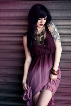 Purple Ombre High Low Hem Dress