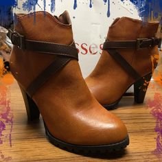 Kisses, brown/ honey heeled zip up ankle boots NIB . These were shelf pulls. Inner ankle zip up ankle boots. Ice Cleat style sole.. Anti slip Kisses Shoes Heeled Boots