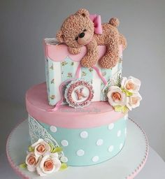 Cake for a baby girl - cake by Couture cakes by Olga Baby First Birthday Cake, Birthday Cake Girls, Birthday Cake Design, Amazing Birthday Cakes, Special Birthday, Amazing Cakes, Jednostavne Torte, Torta Baby Shower, Teddy Bear Cakes