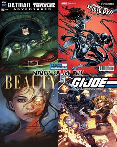 Our favorite variant comic covers out tomorrow 3/22 for new comic book day. Batman Teenage Mutant Ninja Turtles Adventures #5 by Jeff Matsuda, Amazing Spider-Man Renew Your Vows #5 by Humberto Ramos, Beauty #13 by Laura Tolton, and GI Joe A Real American Hero #237 by John Royle. #NCBD #comicbookart