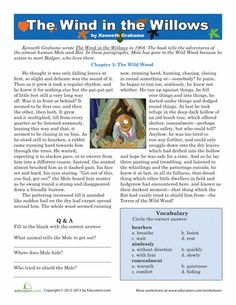 Printables Reading Comprehension Vocabulary Worksheets reading practice comprehension and student on pinterest elt 5th grade writing worksheets vocabulary kenneth grahame