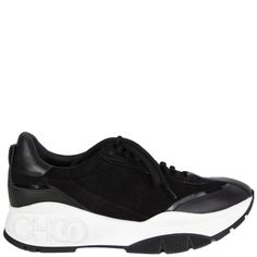 Jimmy Choo Raine Black And White Chucky Sneakers Slingback Shoes, Pump Shoes, Shoes Heels Boots, Heeled Boots, Shoes Sneakers, Studded Sneakers, Chunky Sneakers, High Top Sneakers, Mid Calf Boots