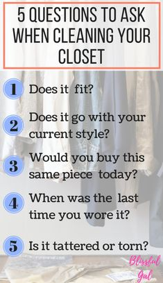 Tips to Clean Your Closet Out- Cleaning my closet out each season, or a couple times a year, really helps me to only keep my favorites. Although it can be difficult to part with a clothing item, I'm sharing 5 questions that you need to ask when you clean out your closet http://blissfulgal.com/tips-for-cleaning-out-your-closet/