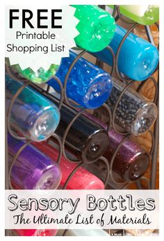Sensory Bottles  FREE Printable Materials List via @lemonlimeadv
