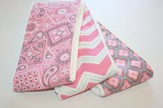 Baby Burp Cloths  Set of 3  Pink and Gray by OhBabyMineDesign