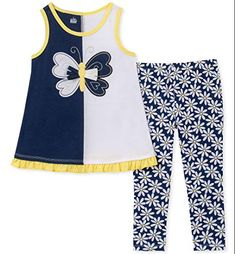 Kids Headquarters Little Girls Butterfly Tunic & Printed Leggings Set - Assorted 6 Floral Leggings, Tops For Leggings, Printed Leggings, Kids Headquarters, Plus Size Activewear, Baby Clothes Shops, Toddler Girl, Baby Girls, Navy And White