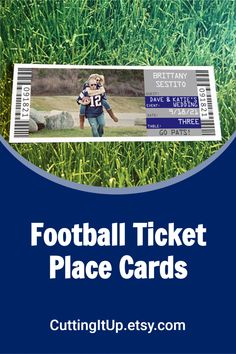 These Football Ticket Place Cards are the perfect fit for your Football or other Sport Themed Wedding Reception. Make your place cards fit your theme by seating your guests with tickets! You can name your tables with sections, teams, numbers, stadiums or players. It's entirely up to you. All of my tickets are printed on real, perforated ticket paper! Get your custom ticket stationery at CuttingItUp.etsy.com Football Wedding, Golf Wedding, Sports Wedding, Wedding Reception, Custom Tickets, Go Pats, Football Ticket, Ticket Invitation, Perfect Fit