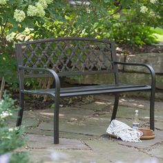 Coral Coast Crossweave Curved Back 4-ft. Metal Garden Bench - Rugged and rustic, the Coral Coast Crossweave Curved Back 4 ft. Metal Garden Bench offers a handsome complement to your outdoor décor. Sturdily...