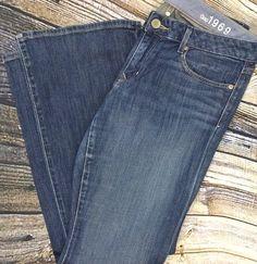 GAP 1969 Womens 30 / 10A Curvy Boot Cut Jeans Dark Distressed Wash Denim Stretch #GAP #BootCut
