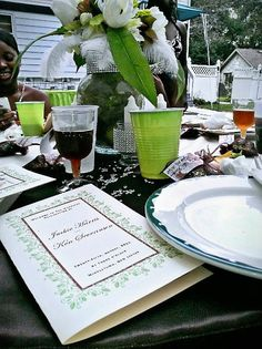 Plastic cups done right can still be semi-formal for an outdoor venue