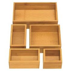 Seville 5 Piece Bamboo Organizer Boxes - Brown (Assorted Sizes)