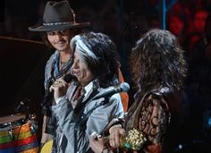 Johnny Depp,Steven Tyler and Joe Perry