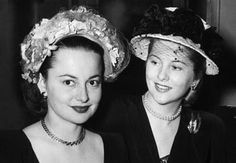 Olivia de Havilland and sister Joan Fontaine.  Uploaded By www.1stand2ndtimearound.etsy.com