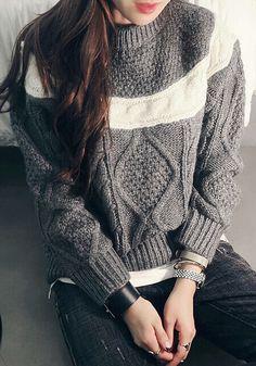 Knitted Dark Grey Pullover - Ribbed At Neckline/Cuffs/Hem