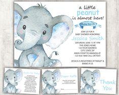 Boy Elephant Baby Shower Invitation Boy Baby Shower Invite Floral Blue Baby Boy Shower Safari Baby S Bebe Shower, Baby Shower Niño, Baby Shower Signs, Baby Shower Invitations For Boys, Shower Set, Shower Ideas, Shower Favors, Shower Gifts, Baby Set